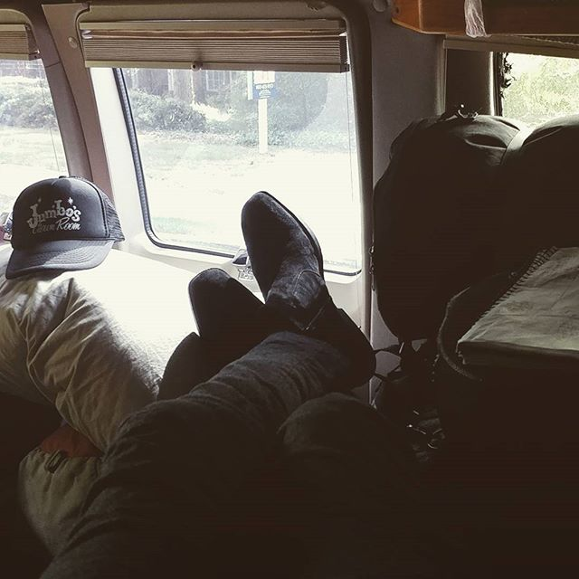 Found my spot in the van. @eddiesattic tonight at 7p! First night of the @julie.rhodes southern tour. Come catch us before Nashville 🤠💞