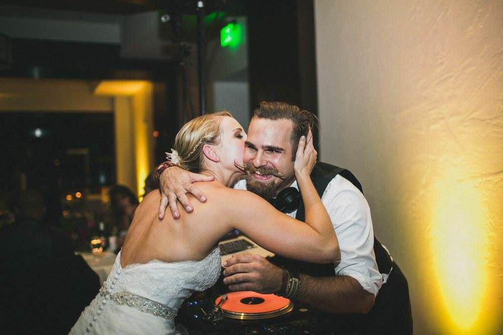 """""""Drew's a Musical Warlock, songs bend to his whim, and with the wide swath of ages that weddings typically bring out, our dance floor was packed the entire night, loving the energy and the line-up Drew brought with him. He put together one of the craziest awesome dance parties San Diego's ever seen!"""" - Stephanie D. (ecstatic bride)"""