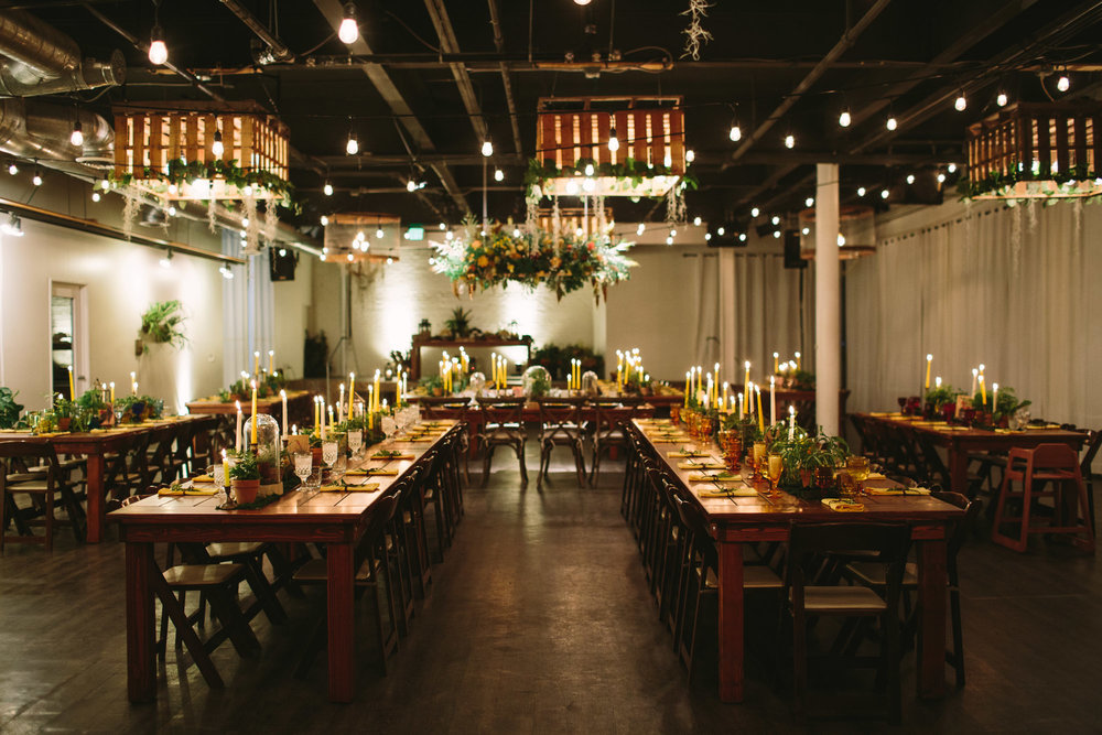 "The interior of Moniker Warehouse can be dressed up or kept ""boho-chic / rustic-industrial""."