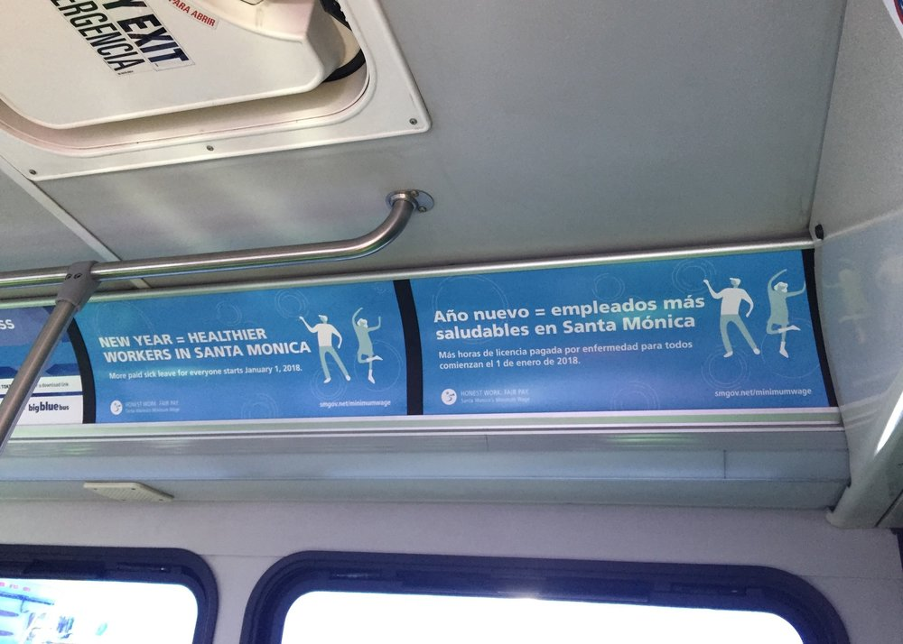 Bilingual ads on the Santa Monica Big Blue Bus Line