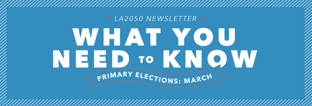 Newsletter graphics for our March Primary Elections issue.