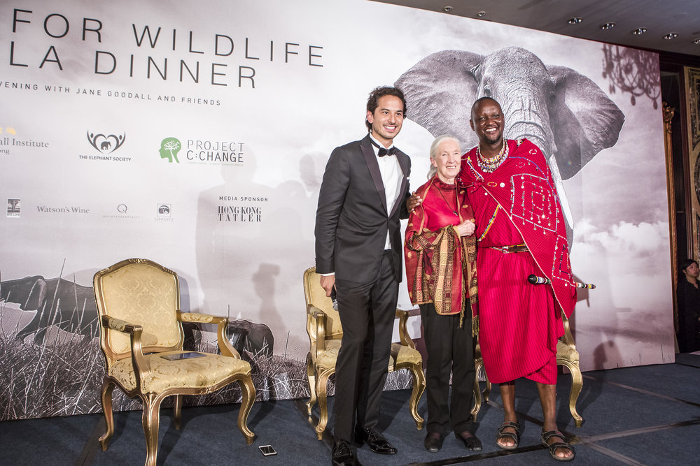 Dr Jane Goodall and Daniel Ole Sambu at the Hope for Wildlife dinner 2016