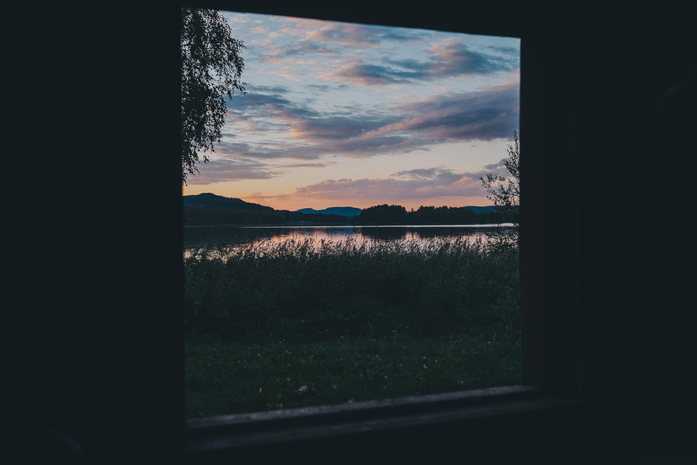 Sunset from hut in Koli