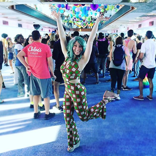YAS NYC 🛳🏳️‍🌈✨ Yesterday I woke up at 3:30 am - put on a wig and onesie and danced my heart out on a boat cruise for pride!! DAYBREAKER killed it with this amazing event!  Dragonette performed, balloons were dropped, we danced our hearts out while we drank cold brew! It. Was. Magic.  A few of our NYC based Morale Officers for Daybreaker FIT came to hang out with us too! SO excited for our launch this fall!!!! #vegan #strength #behappy #veganforfit #findyourhappy