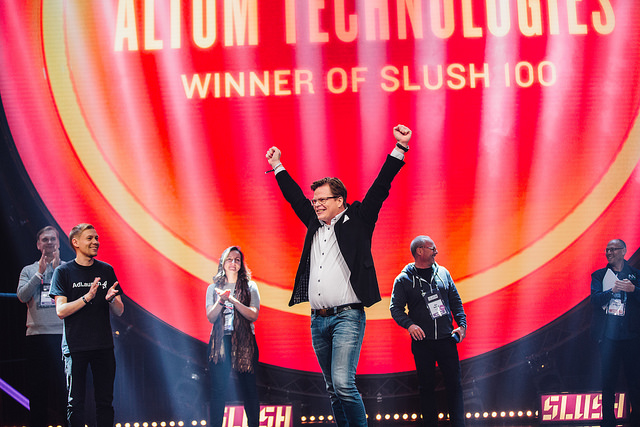 Winner of Slush100 in 2017  Photo: http://www.altumtechnologies.com/slush100-pitching-winner/