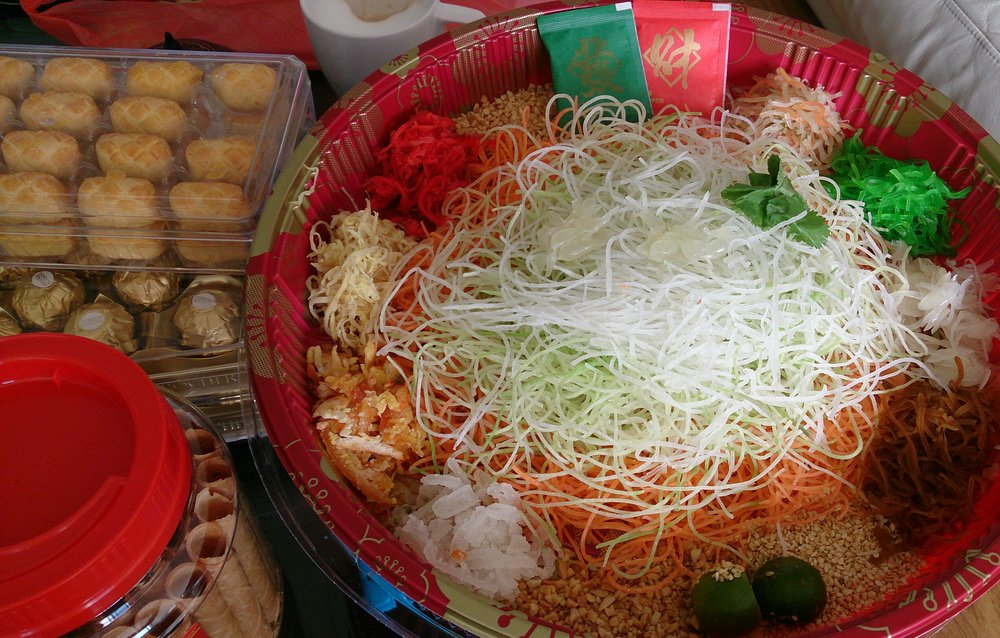 The multi-coloured Yusheng dish, a favourite on Chinese New Year