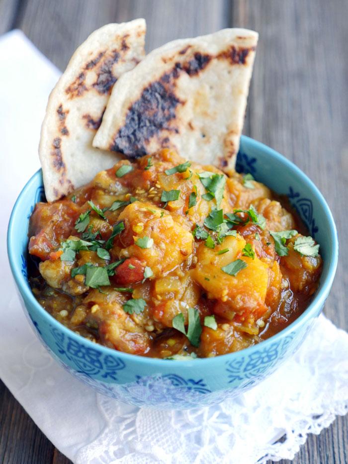 Recipe and photo from:http://myheartbeets.com/baingan-ka-bharta-indian-eggplant/