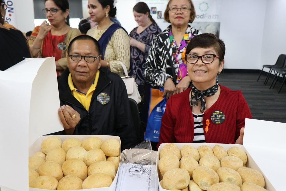 Members of PACSI with Pandesal on Harmony Day, 2018. Image courtesy of Naomi Shore