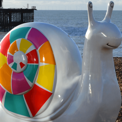 Geronimo, the mascot snail, chilling out on the seafront