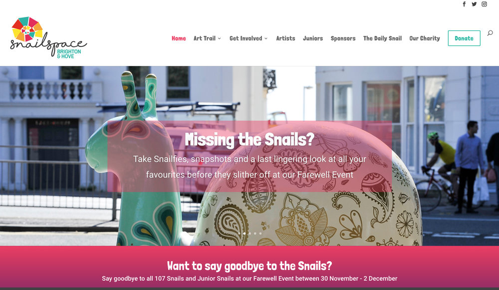 Paisley featured on the homepage of the Snailspace website to promote the last weekend of the trail and to encourage people to book tickets for the Farewell Event. Click the image to book your tickets…
