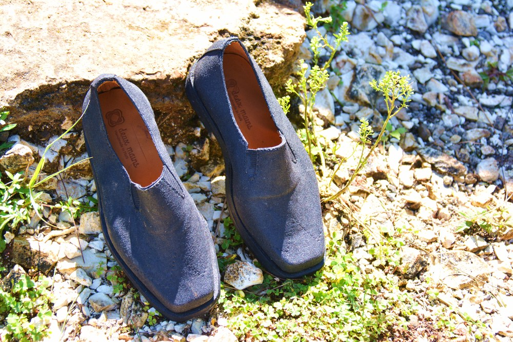 These are some of the shoes Deux Mains makes. Deux Mains is supported by an organization called Rebuild Globally.