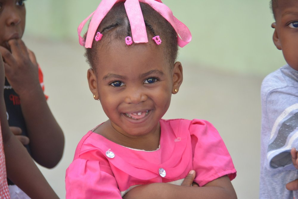 One of the Little Angels getting ready for school to start at Christian Light School.