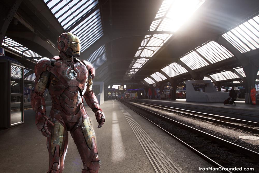 Iron Man grounded im Zürcher Hauptbahnhof fotografiert/inszeniert von Raffael Dickreuter
