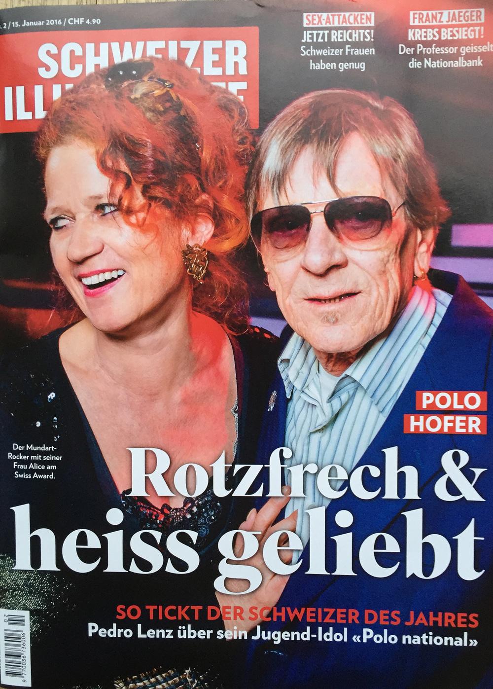 Polo Hofer und Alice auf dem aktuellen Schweizer Illustrierte Cover fotografiert von David Biedert
