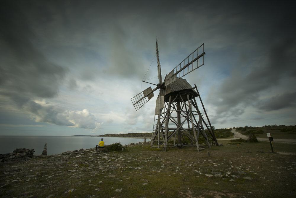 Die Scheuermühle von Jordhamn. Abgedrückt hat mein Sohn und für einmal durfte ich auch auf's Bild ;-).