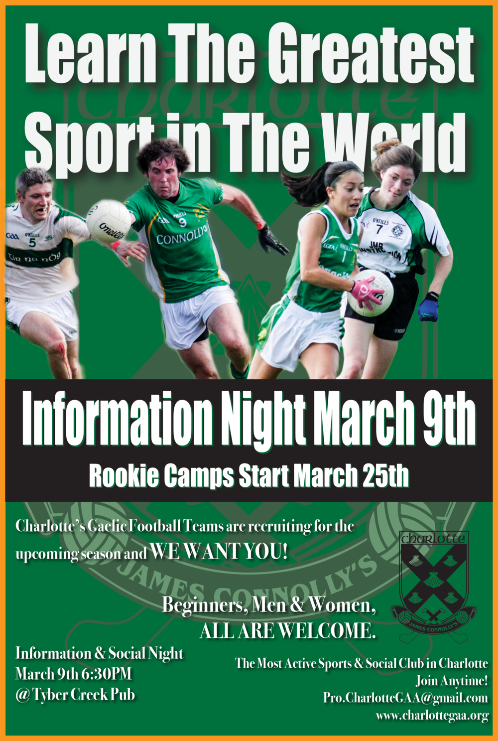 Info night is March 9th 6:30-8:30PM at Tyber Creek Pub.