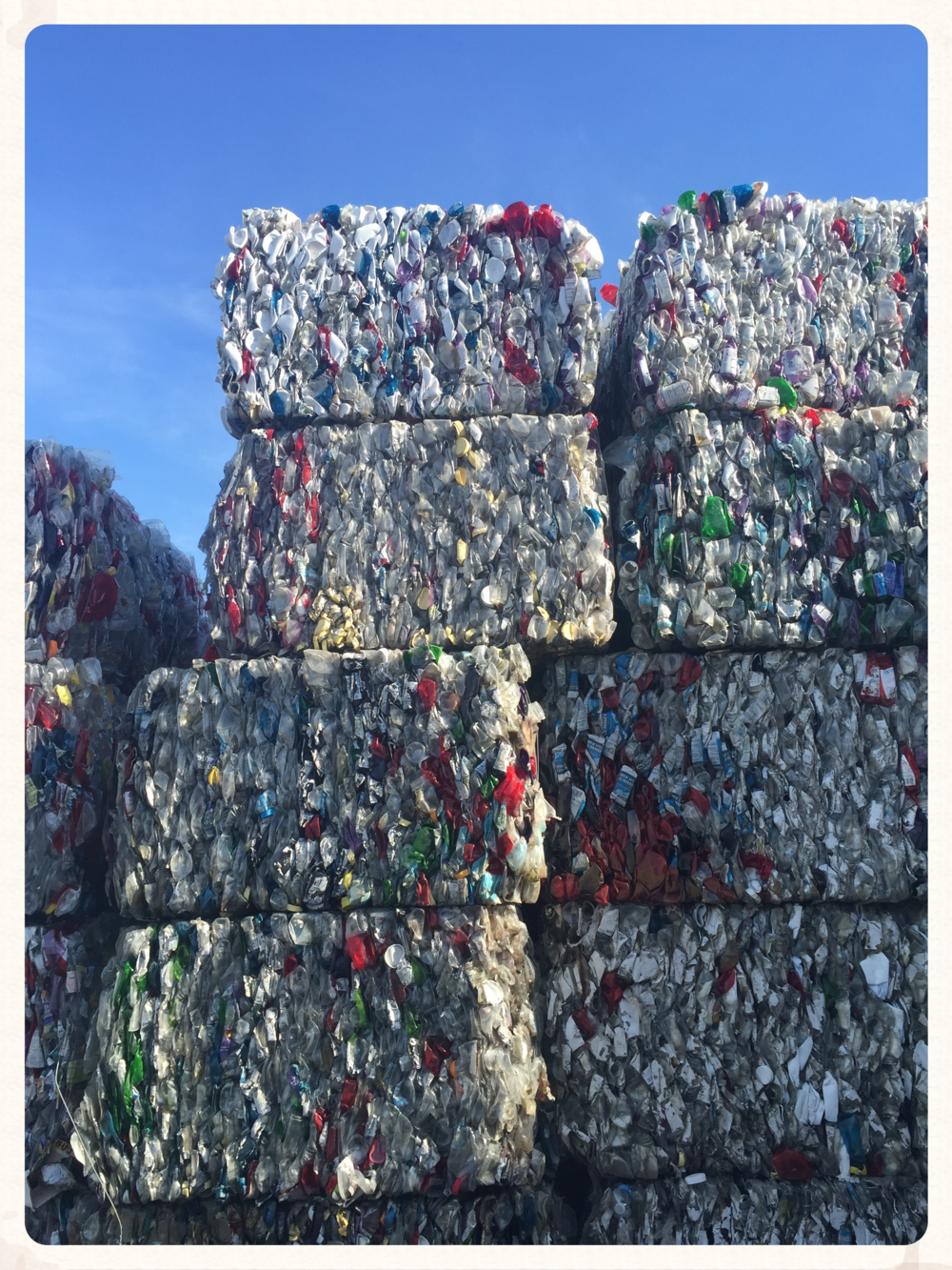 PET plastic at my local recycling center. It will be sold and shipped to China. 2015