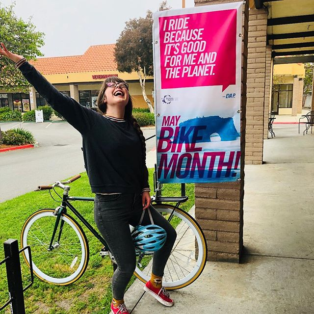 Say what?! That's a bike billboard brought to you by @ecology_action and thought up by one of my brilliant friends Tatiana @i_gotopless 💛 🚲 🌎  I will be riding around Santa Cruz county encouraging YOU to sign up and participate in May Bike Month. At stake, a chance to win $7,500 and gain happiness, cause riding creates endorphins and endorphins make us happy! 😁 All you gotta do is sign up using the link in my bio and track at least 5 rides using a supported app during the month of May. For every ride, you get an entry to win the $7,500 jackpot!  Why I ride: I ride because it's good for me and the planet.  Why do you ride?  Let me know below and let me know when you signed up cause it makes me smile knowing that more and more of us are reducing emissions and choosing to ride!  See you on the road, friends 🎉🚲 ecoact.org/bikemonth  #maybikemonth #ecologyaction #bikemonthchallange #lovetoride #biketoworkday #biketowork #bikebillboard #communityaction #bikemonth #rideyourbike #bikingiscool #bikesafety #reduceemissions #driveless #reducewaste #reducegreenhousegases #ridemore #optoutside #circularliving #circularmindset #protectwhatyoulove #bikeambassadors #bossbabe #bikesantacruz #santacruzcounty #greenliving #sharetheroad #kindplanet