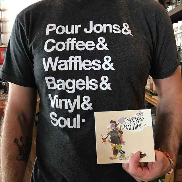& Sons of Otis Malone CDs.  Shout out to @pourjons for having so many things we love (see pic for a list of a few) and for supporting us and selling our music. Every morning when you're craving your Sons of Otis Malone fix, stop by Pour Jons and pick up a cup of coffee. And a waffle. And a bagel.