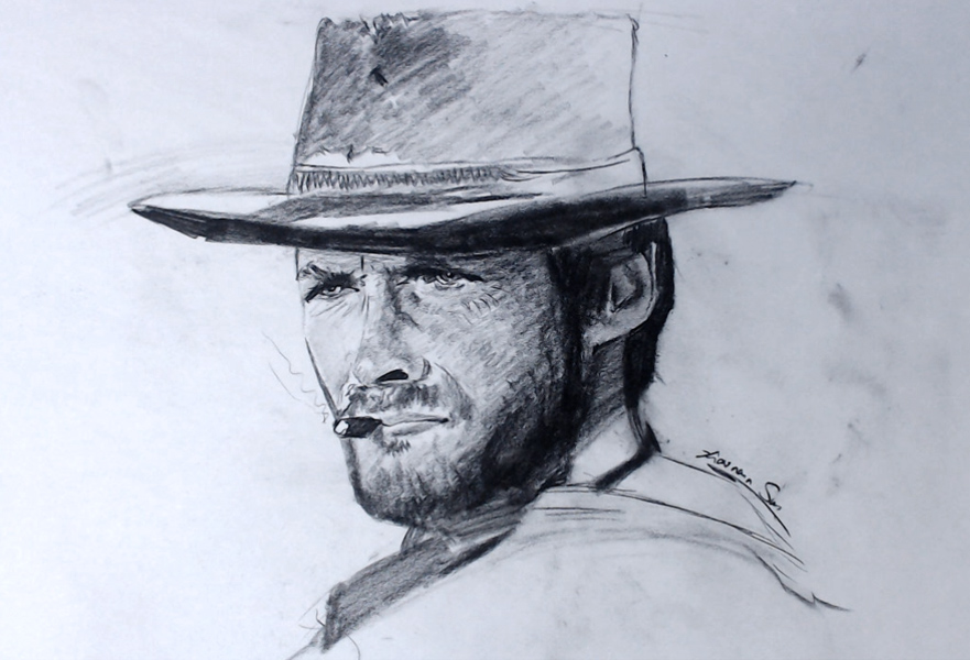 Clint Eastwood - Sold - Charcoal on newsprint