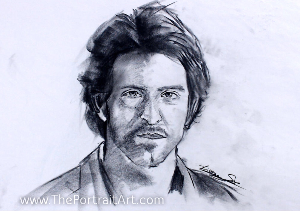 Hrithik Roshan Sketch - Sold - charcoal on newsprint