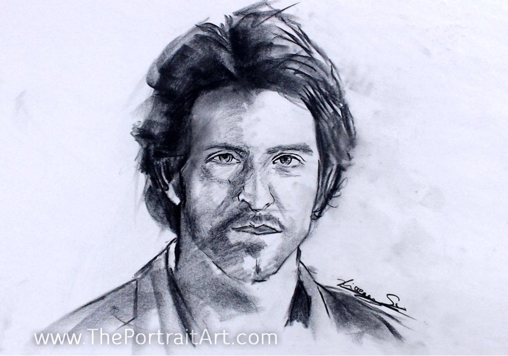 Hrithik Roshan Sketch - $100 - charcoal on newsprint