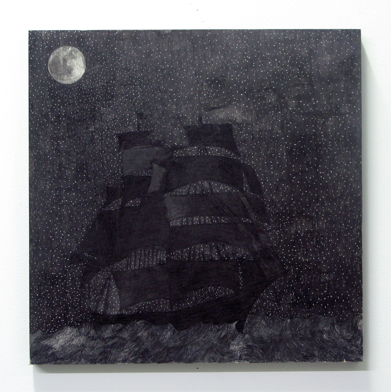 sailin' hardships  ink on panel  12 inches x 12 inches  2008