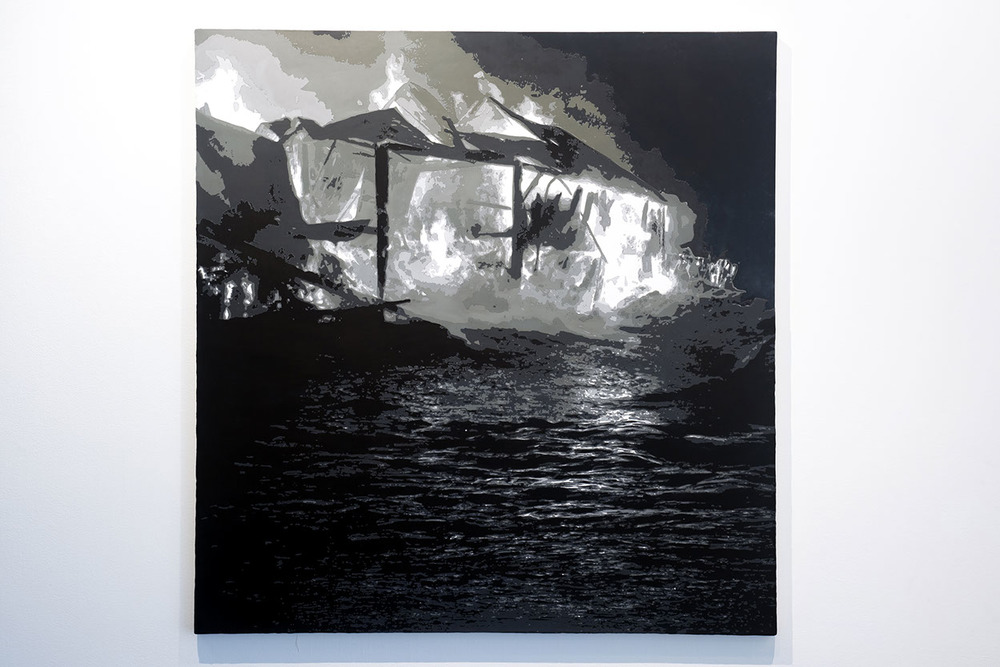 shelter from the storm  acrylic on canvas  54 inches x 52 inches  2009