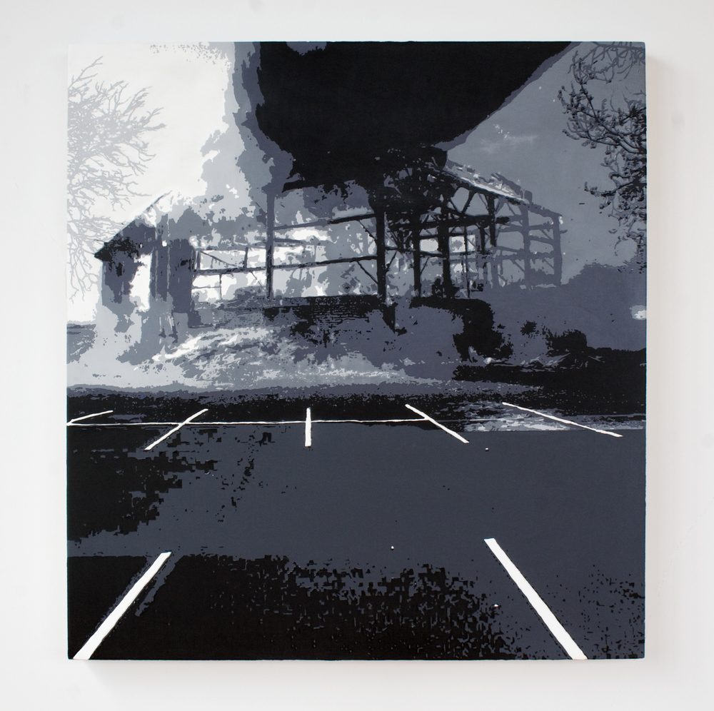 parking lot  acrylic on canvas  34 inches x 32 inches  2009