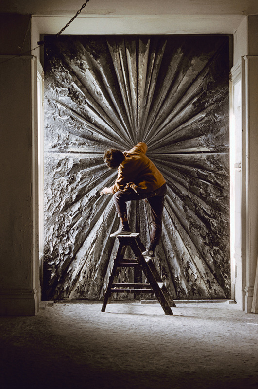 Jay DeFeo working on what was then titled (and i wish still was) Deathrose.