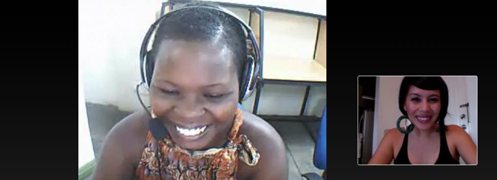 Ruby training an educator in Kenya on the Girls LitClub Program via Skype.