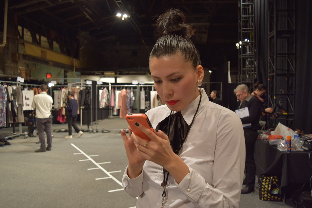 Working hard backstage at Vivienne Tam's NYFW Fall/Winter 2016 Presentation. All photos by  Jharpphotography