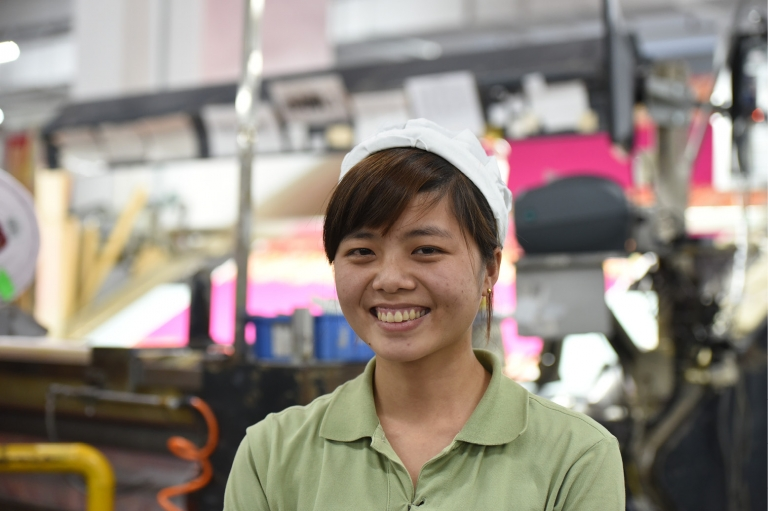 """I was 19 when I left my home village in Yulian and headed to the city to find work at a factory. That's what many girls from my village do. I was so curious and excited to explore the world outside. Three years later my entire life is the factory, full of long hard hours on my feet."" -Ming Hui, a factory worker from China Image and caption via Remake"