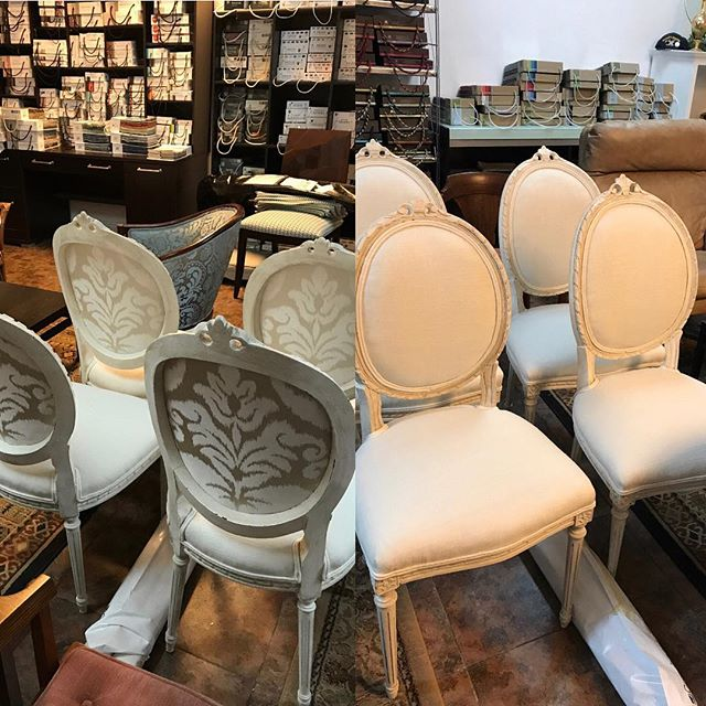 I have been saving this #transformationtuesday for you🤗 Swipe for what these chairs looked like before🤩Paint and fabric are magic💫 #rethinkyourfurniture #eljfinefinishes #alwayshandpaint