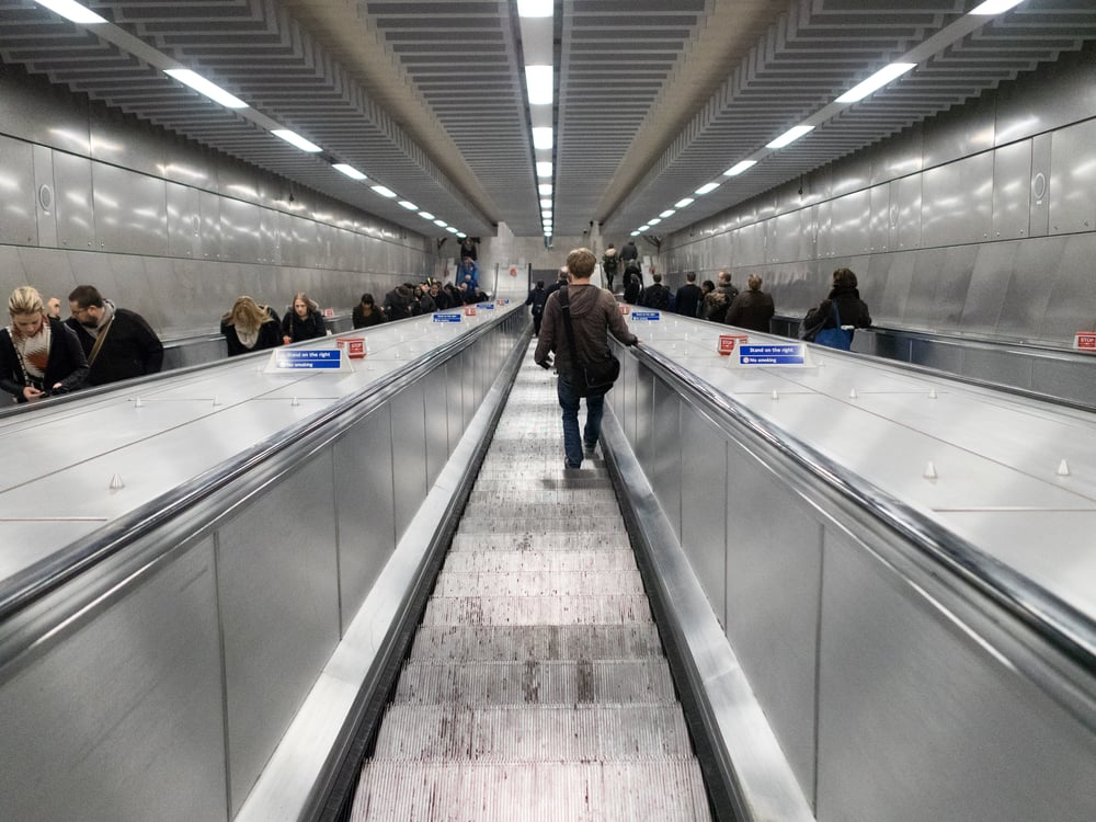 Tottenham Court Road metro escalator