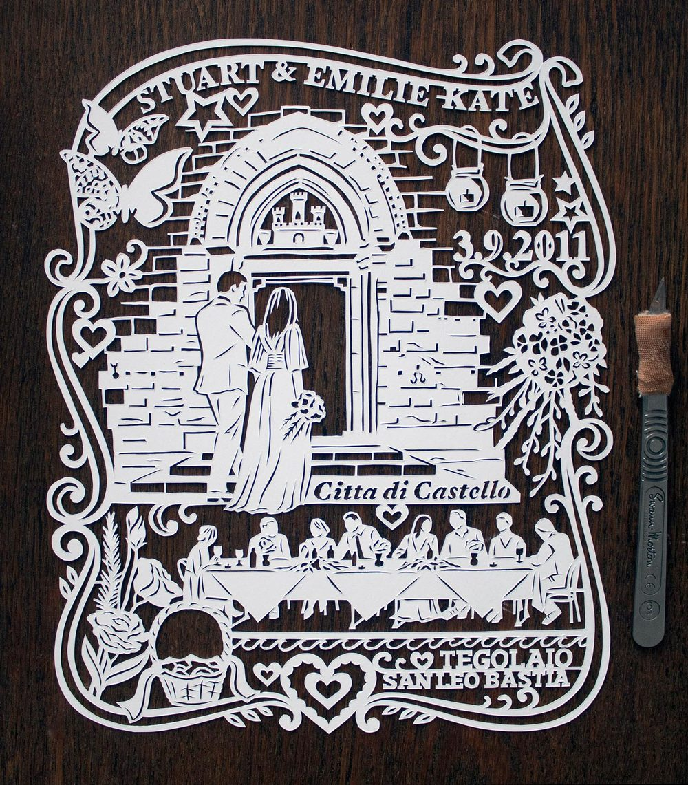papercut illustration for first anniversary, Italy wedding