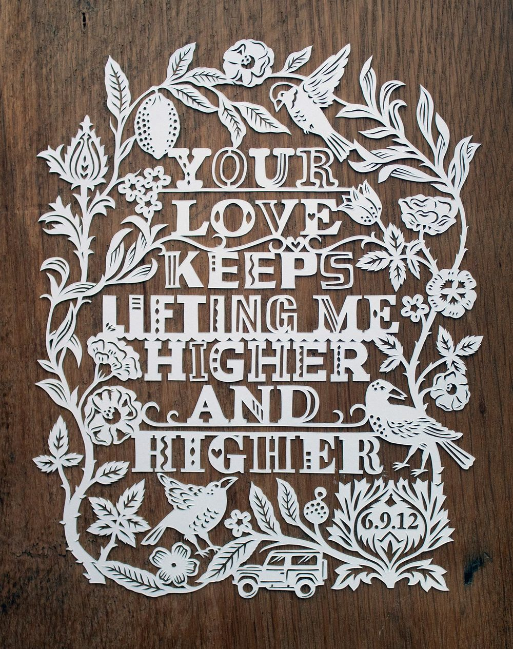 papercut illustration for first anniversary, love and flowers
