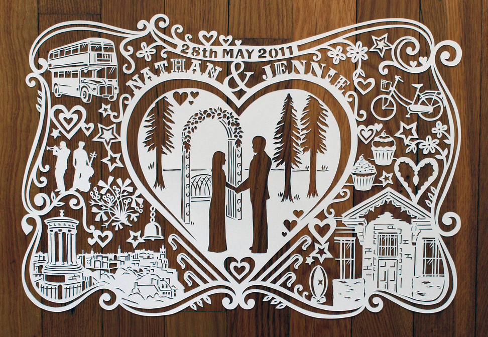 papercut illustration for first wedding anniversary, silhouette love