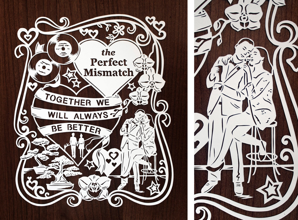 papercut illustration for first wedding anniversary, beautiful couple