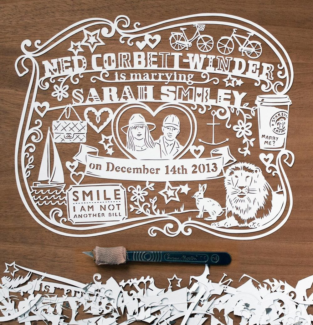 papercut illustration for anniversary, Starbucks couple love
