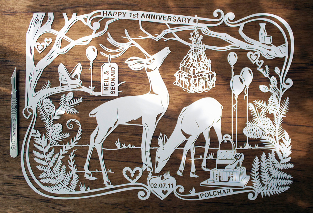 papercut illustration for anniversary, deer and trees