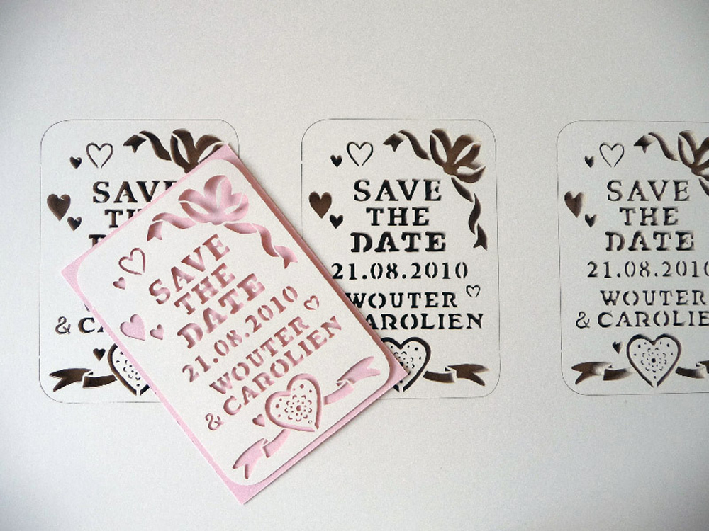 customized beautiful papercut save the date in pink