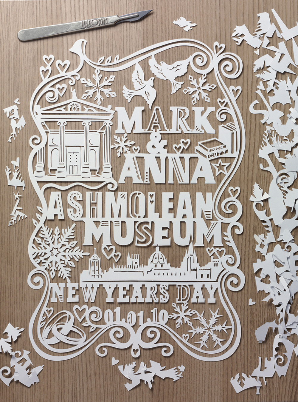 customized papercut wedding invite with doves and snowflakes