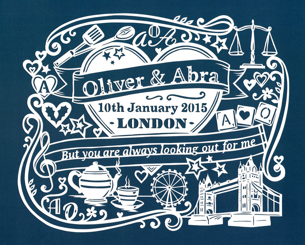 customized papercut wedding invite with heart and london