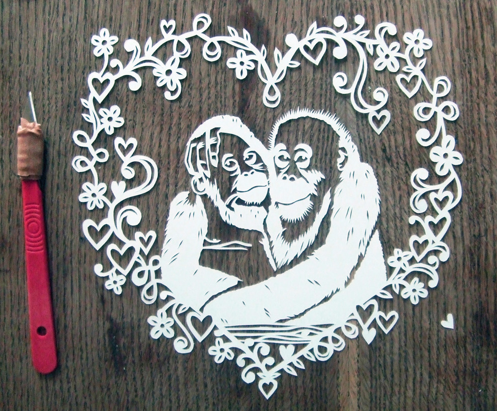 papercut portrait illustration of two monkeys love