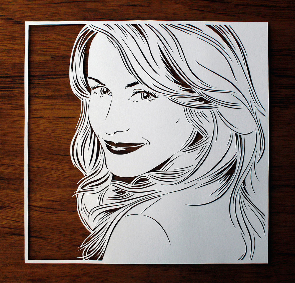 papercut portrait illustration beautiful woman blond