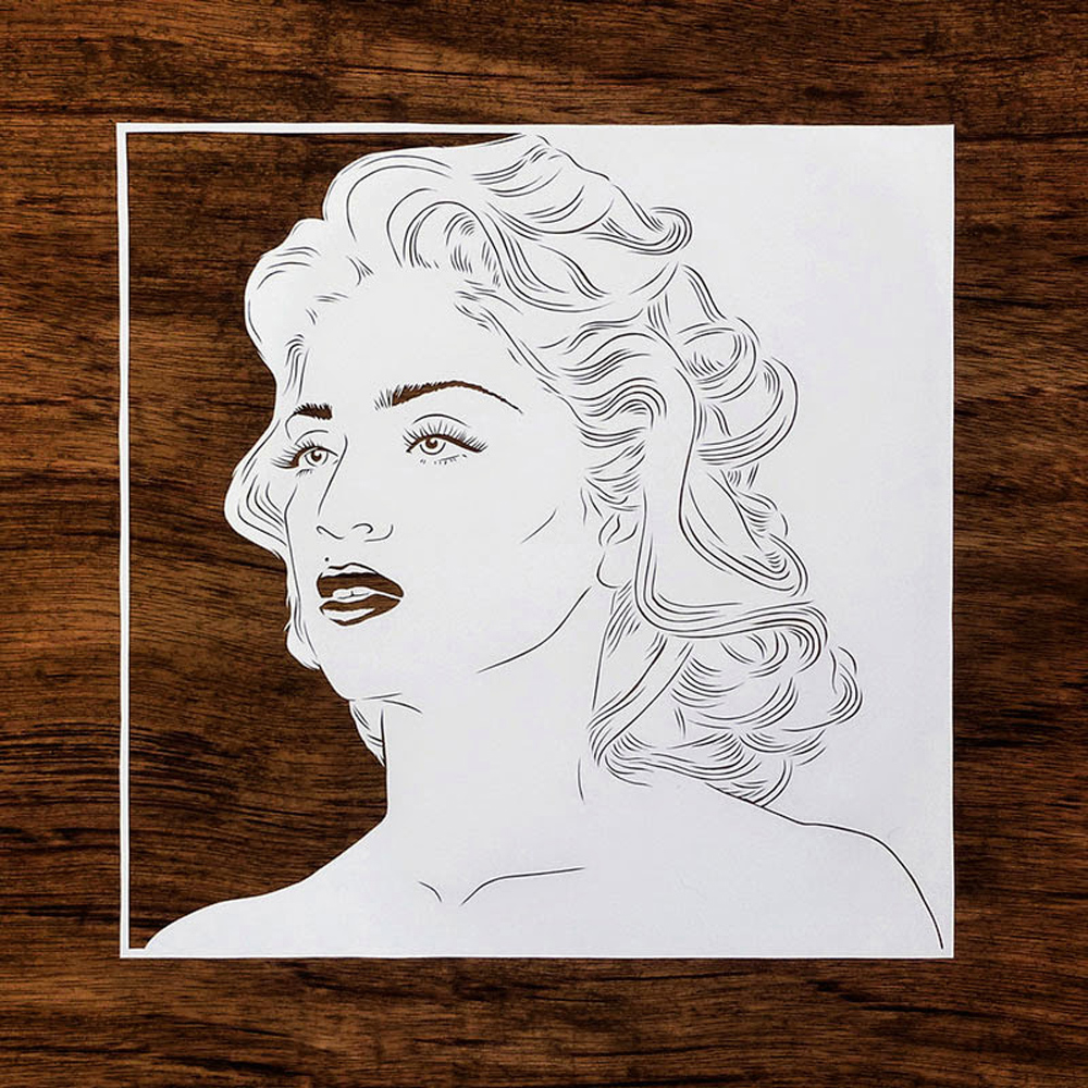 papercut portrait illustration of madonna