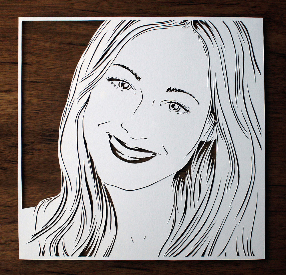 papercut portrait illustration of pretty blond woman