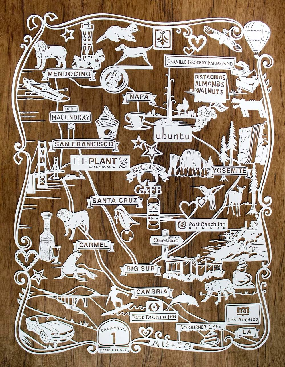 papercut illustration of honeymoon trip in america