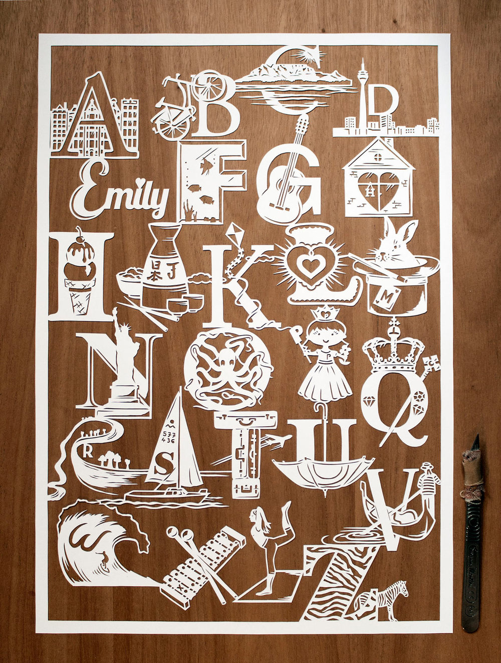 papercut illustration of alphabet love story intricate